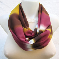 infinity scarf Loop scarf Neckwarmer Necklace scarf Fabric scarf  Brown Yellow White  Chiffon scarf
