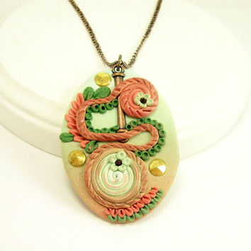 Abstract Art Polymer Clay Jewelry Pendant Necklace