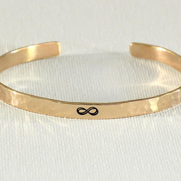 Infinity Bronze Cuff Bracelet with Hammered Pattern and Polished Finish for Love,  8th Anniversary and Bronze Anniversaries