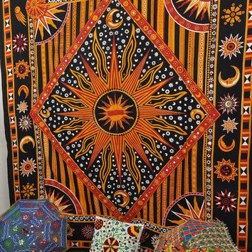 Queen Hippy Hippie Celestial Sun Tapestry ,Sun Moon Stars Tapestry Wall Hanging ,Cotton Day Light Sun Print Indian Tapestry