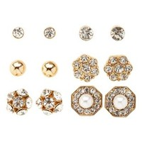 Mixed Rhinestone Stud Earrings - 6 Pack by Charlotte Russe - Gold