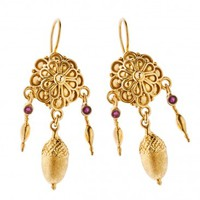 Savati 18K Solid Gold and Rubies Rosette Dangle Earrings
