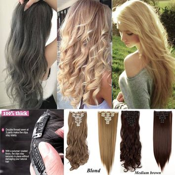 200g 8Pcs Double Weft Thick Clip In Hair Extensions Long Straight Curly Blond Brown