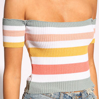 Multi Off Shoulder Stripe Crop Top