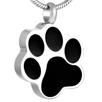 I Love My Dog Paw Cremation Urn Necklace