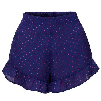 LE3NO Womens Chiffon High Wasited Polka Dot Ruffled Hem Summer Shorts