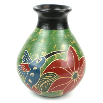 5 inch Traditional Nicaraguan Pottery Vase - Green Bird