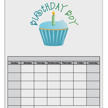 Birthday Boy - Candle Cupcake Blank Calendar Dry Erase Board by TooLoud