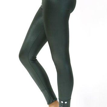 Leather Look Stretch Skinny BodyCon Leggings With Button Accents