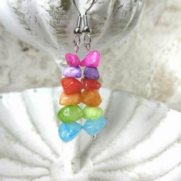 Rainbow Earrings, Colorful Chip Bead Earrings, Quartz Chip Beads
