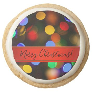 Multicolored Christmas lights. Add text or name. Round Shortbread Cookie