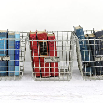 Locker Basket, Vintage Metal Locker Basket, Industrial decor, Vintage School Locker Basket