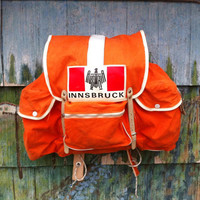 Vintage 60's Fels Tokyo Orange Canvas and Leather Rucksack Backpack Top Open Book School Bag Soft Pack Innsbruck Grunge Hippie Austria