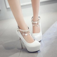 Black Women Platform Pumps Rhinestone Tassel Ankle Straps High Heels Stiletto Heel Wedding Shoes Woman