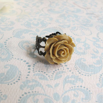 Latte Brown Rose Resin Cabochon. Antiqued Brass Lace Filigree Ring. Cocktail Ring. Bridal Bridesmaid Gift. Adjustable Ring. Country Wedding