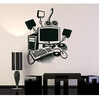 Vinyl Wall Decal Computer Art Gamer Play Room PC Kids Mural Stickers Unique Gift (ig3213)