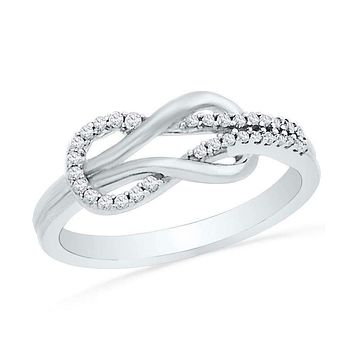10kt White Gold Women's Round Diamond Double Lasso Infinity Ring 1/6 Cttw - FREE Shipping (US/CAN)