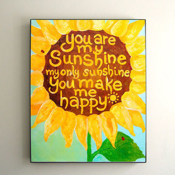 Childrens Wall Art for Girls PRINT, You Are My Sunshine, Yellow Sunflower No.2, 8x10, Girls Nursery Decor