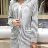 Stand Collar Double Pocket Long Sleeve Knitted Cardigan