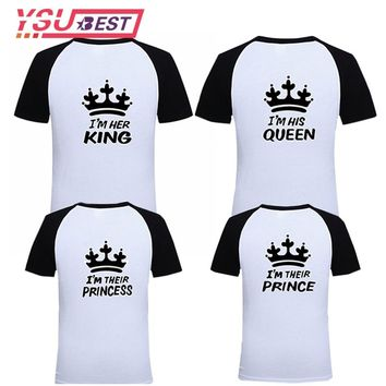 2018 Matching Family look Clothes Casual Solid Mommy and Me Clothes T-shirt King Queen Couples T shirt Crown Printed Funny Tops