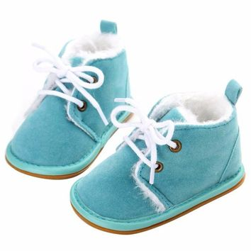 1Pair High Quality Winter Warm Baby Boots Non-slip Lace-up Pure Cotton Hook & Loop Sole Baby Shoes For 0-18 Months