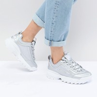 Fila Disruptor Trainers In Silver at asos.com