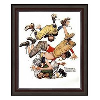 ''First Down'' Framed Art Print by Norman Rockwell (Red)