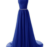 Chiffon Blue Prom Dresses,A-Line Prom Dresses,Long Evening Dress