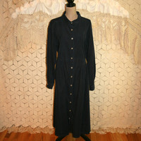 Vintage Plus Size Dress Navy Blue Corduroy Long Sleeve Grunge Dress Fall Winter Dress Button Up 3X 4X Size 26 Womens Plus Size Clothing