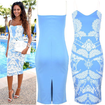Print Dress Pen Spaghetti Strap One Piece Dress [8096398855]