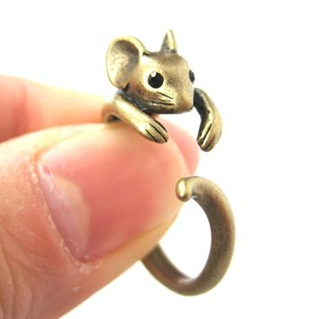 Mouse Animal Wrap Around Ring in Brass - Sizes 4 to 9 Available