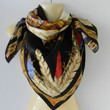 """Versace Foulard 100% Silk Multi-Color Scarf 34"""" Indian Chief Feathers NWT Italy"""