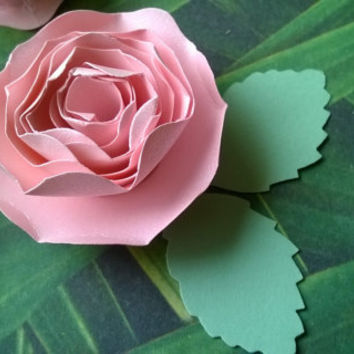 blush pink Dahlia boutonniere metallic pearl rose wedding anniversary groomsman pin back groom rolled paper flower lapel brooch bridal party