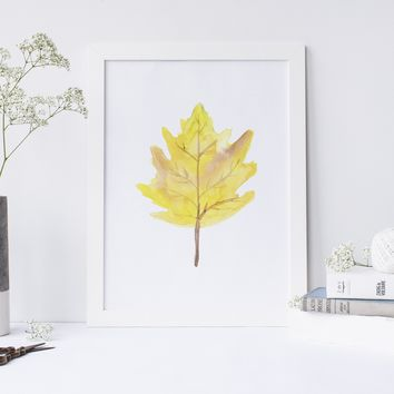 Yellow Leaf Art Print Wall Art Print