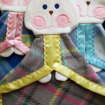 Gray Plaid Fisher Price Bunny Puppet Security Blanket Replica Lovey