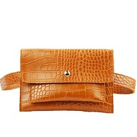 Basic Crocodile Waist Cross Body Bag