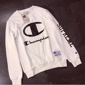 Champion couple sets the head sweater couple models Plus velvet hooded sweater simple printing class service White-2