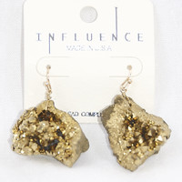 Cracked Stone Dangle Earrings in Gold