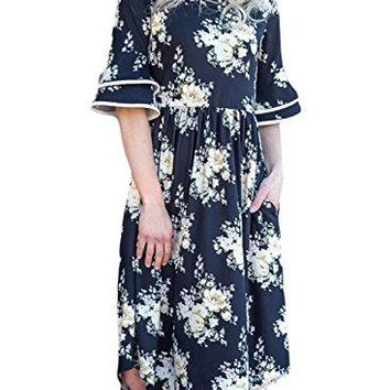 Happy Sailed Women Summer Floral Print Short Sleeve Casual Midi Dresses with Pocket