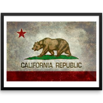 Wall Art / California State Flag (Rustic/Grunge)
