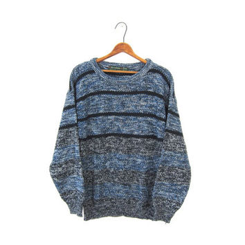 Slouchy 80s Loose Knit Sweater Blue Black Speckled Marled Knit Boyfriend Pullover 1980s Striped Crewneck Retro Vintage Jumper Men's Medium