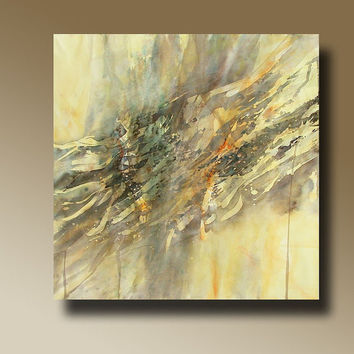 ABSTRACT painting, Watercolor, Giclee, Fine Art Print, yellow grey  blue orange modern painting Wall Decor  002-2