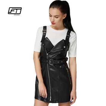 Fitaylor New Autumn Leather Overall Dress Women Soft PU Faux Leather Dresses Sexy Turn-down Collar Slim Retro Black Short Dress