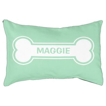 Mint Green And White Dog Bone With Custom Name Small Dog Bed