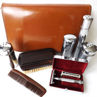 Gents Travel Vanity Set Chrome Ebony & Leather, Vintage Barber, Safety Razor Beard Shaving, Mans Travelling Grooming, Male Accessories