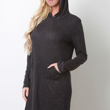 Heathered Hoodie Long Sleeved Tunic Dress