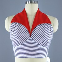 Vintage 1950s - 1960s Halter Top / Nautical Red, White & Blue Striped Cotton