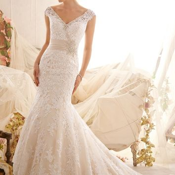 Mori Lee 2608 Lace Fit and Flare Wedding Dress
