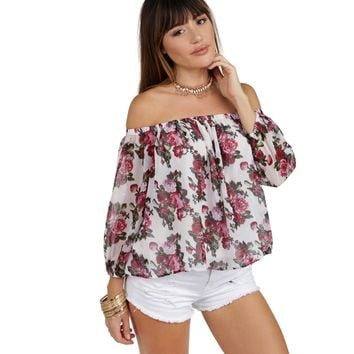 White Off The Shoulder Flirty Floral Top