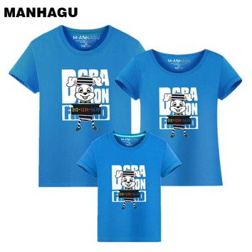 New Arrival Family Look Summer Cartoon rabbit Pattern Family t shirt Father and Son Clothes TopTee 2017 Family Matching Outfits